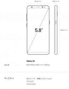 Galaxy S8 AMOLET(有機EL)ディスプレイ ー Samsung サイトから転載