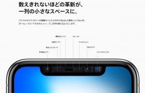 iPhone X フロントカメラ搭載部分 - Apple サイトから転載