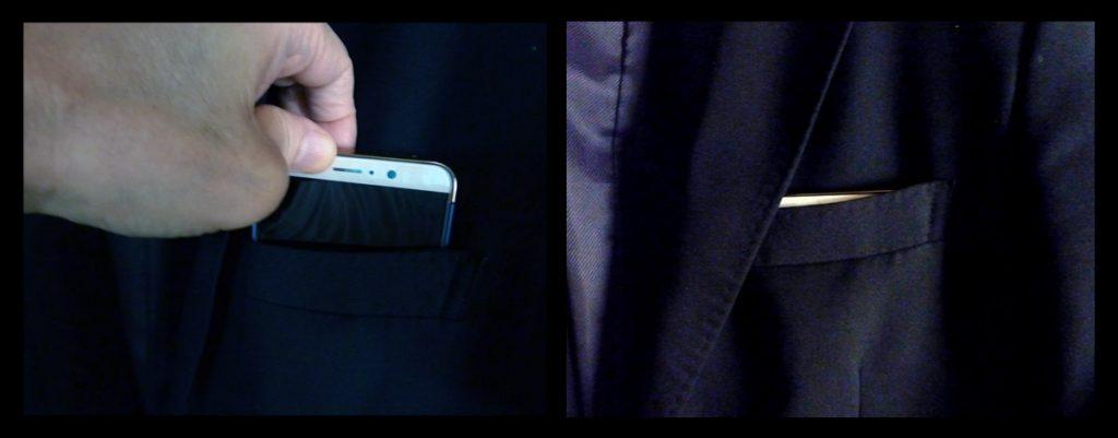 Huawei Mate 9 ジャケットの胸ポケットに挿入
